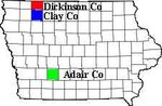 Adair, Dickinson, and Clay Co IA