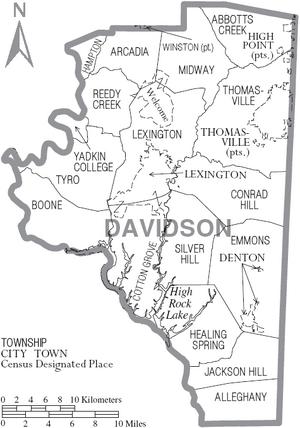 Map of Davidson County North Carolina With Municipal and Township Labels