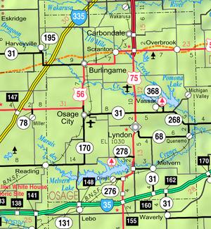 Map of Osage Co, Ks, USA