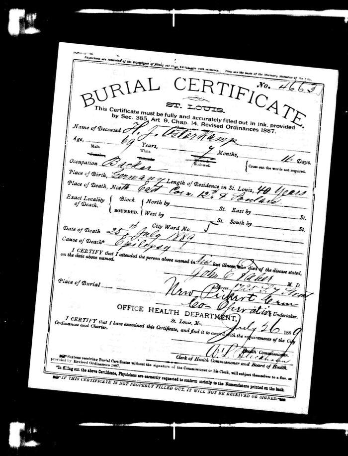 Hicke Osterkamp's burial certificate
