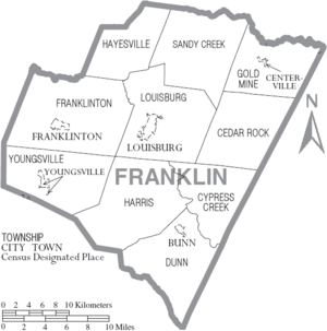 Map of Franklin County North Carolina With Municipal and Township Labels