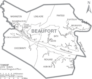Map of Beaufort County North Carolina With Municipal and Township Labels