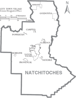 Map of Natchitoches Parish Louisiana With Municipal Labels