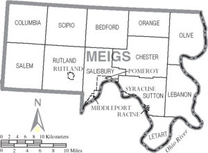 Map of Meigs County Ohio With Municipal and Township Labels