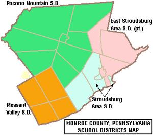 Map of Monroe County Pennsylvania School Districts