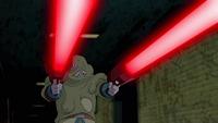 Zombie Bobo attacks Rex and Six