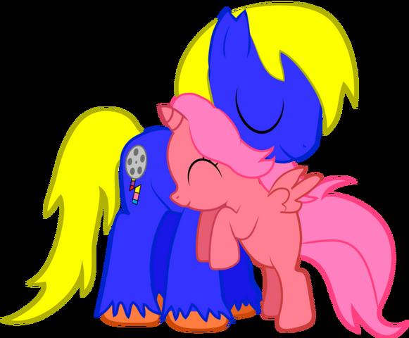 File:Bdps joe bloom pony hug by creshosk-d55tkxr.png