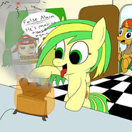 Glaze is making some toast in his wooden toaster by bossluigi-d57nsj3
