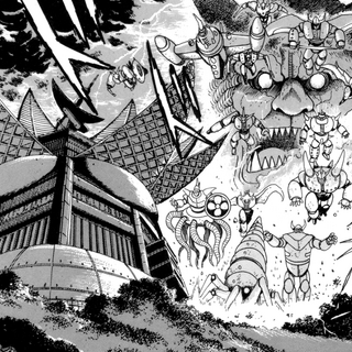 The Hyakki Beasts attack the Saotme institute