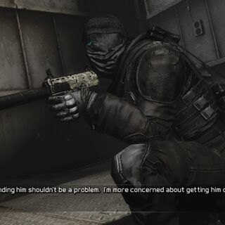 Kozak with a suppressed MP7 during the prison infiltration level of the game