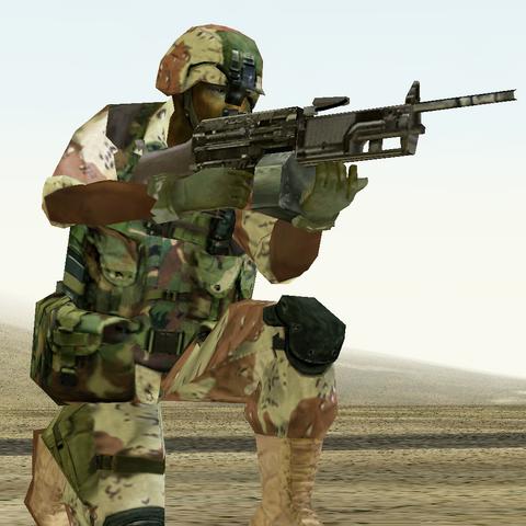Jacobs firing his M249