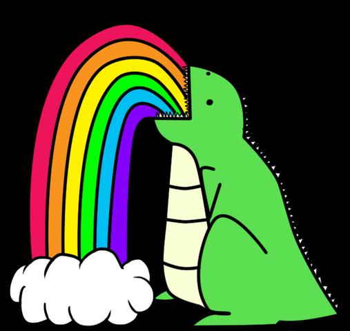 File:Dinosaur puking rainbows.png