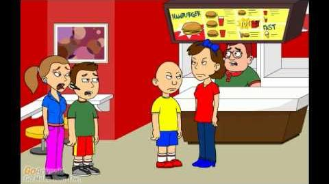 Caillou misbehaves at Pizza Hut