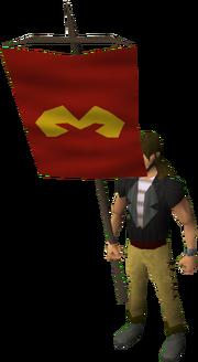 Zamorak heraldic banner equipped
