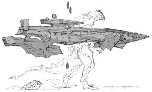 File:Concept Art - Godzilla Final Wars - Gotengo 7 and Godzilla.png