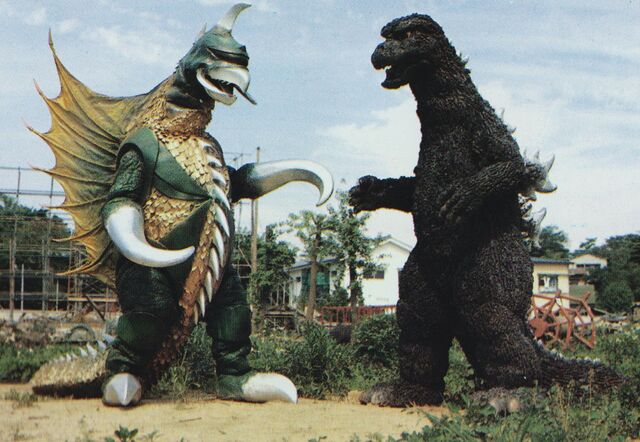 File:ZF - Godzilla and Gigan Suits Outside from Filming.jpg