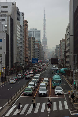 Tokyo Tower Busy Street
