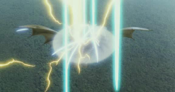File:Grand King Ghidorah's force barrier repelling Mothra's Sparkling Rainbow Buster.jpg