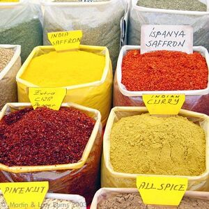600px-Saffron and other spices at a Turkish market