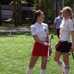 Serena and Blair playing hockey