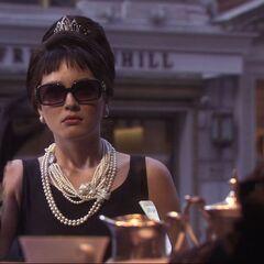 Blair dressed as Audrey Hepburn in her dream