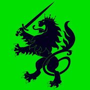 Lion w sword green