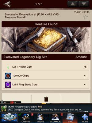 Legendary dig site result