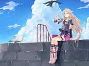 Boots blondes clouds vocaloid birds blue eyes skirts long hair anime girls ia 1120x840 wallpaper wallpaperswa.com 21