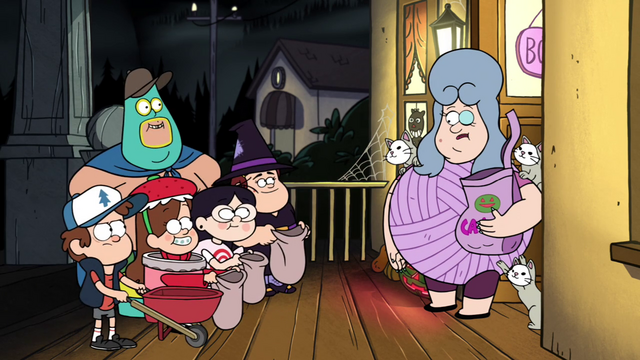 File:S1e12 Mabel, Dipper, Soos, Grenda, and Candy Chiu asking for candy from Lazy Susan.png