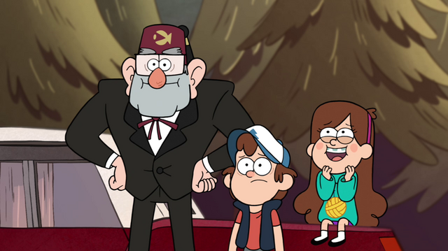 File:S1e14 Stan, Dipper, and Mabel watch Manly Dan wrestle a bear.png