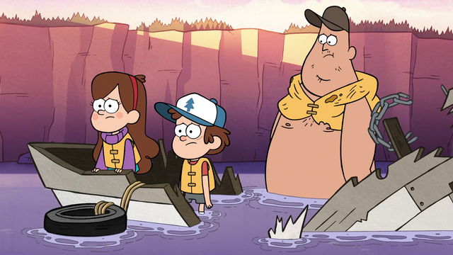 File:S1e2 the twins on a sinking boat.png
