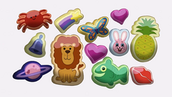 Short8 puffy stickers
