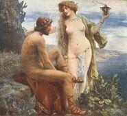 Jan Styka Goddess Calypso promises immortality to Odysseus - artistgallerys