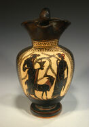 Attic Black Figure Dionysos holding kantharos, with maenad, goat 490BC