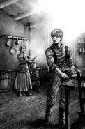 Luke helping Anne in the kitchen