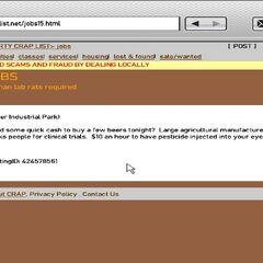 Human lab rat job description on Craplist