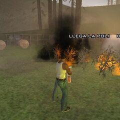 CJ burning the marijuana