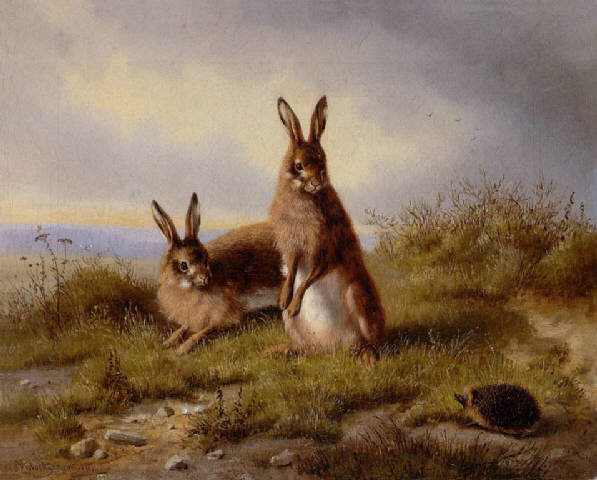 File:Carl Oswald Rostosky - Zwei Kaninchen und ein Igel 1861.jpg