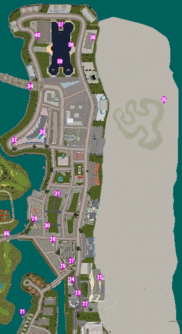 GTAVC HiddenPack 21-40 Vice Point & North Point Mall map