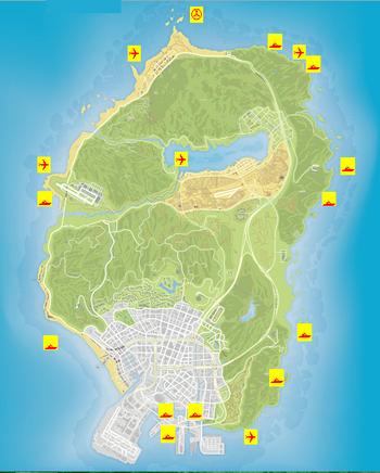 Wreck locations GTAV Map
