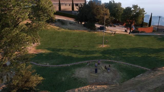 File:Vinewood Hills Dog Exercise Park GTAV picnic tables.jpg