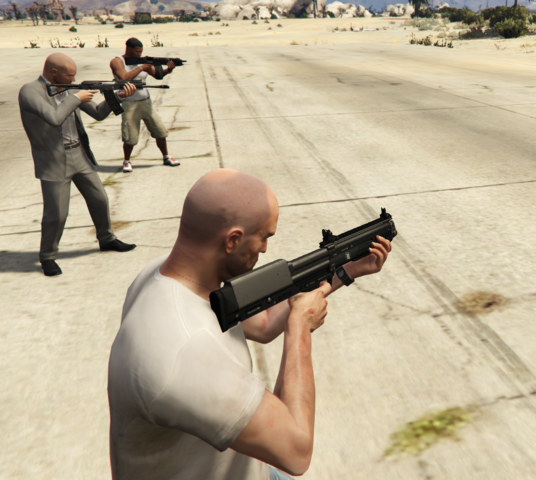 File:MichaelFranklinandTrevor-GTAV-Shotguns.PNG