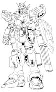 XXXG-01H2 Gundam Heavyarms Custom Front View Lineart