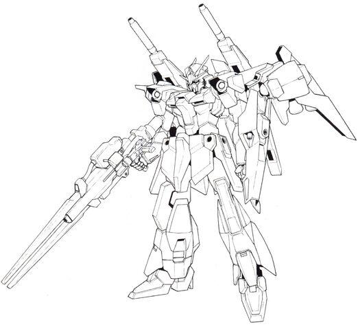 File:Lightning Gundam Full Burnern BW front lineart with high beam rifle.jpg