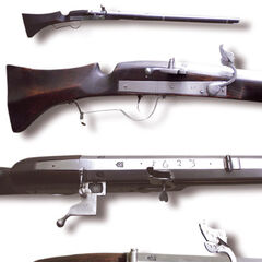 A matchlock rifle at different views.