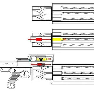 Early concept of a rotary barrel general purpose machine gun (Circa 2006). The GatMalite device operates in a similar way.