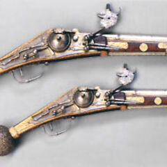 Two wheellock pistols.
