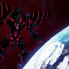 Cathedral Lazengann beginning its attack on Earth (From Lagann-Hen)