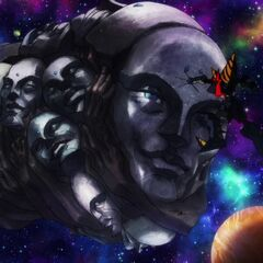 Super Galaxy Gurren Lagann punching an Ashtanga dreadnaught
