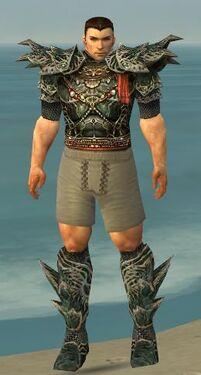Warrior Elite Luxon Armor M gray chest feet front